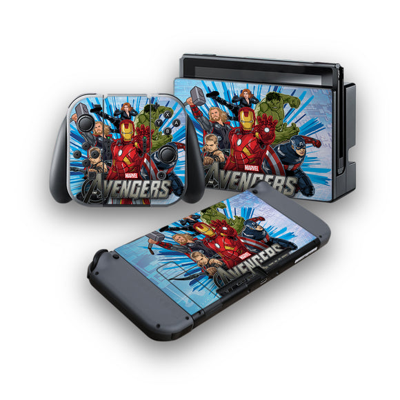 Avengers -Protective Vinyl Skin Decal Cover for Nintendo Switch Console & 2 Controllers