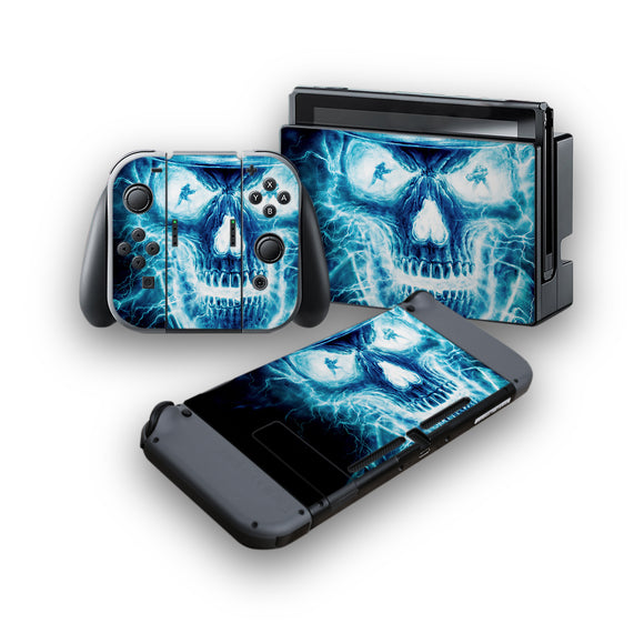 Blue Skull -Protective Vinyl Skin Decal Cover for Nintendo Switch Console & 2 Controllers