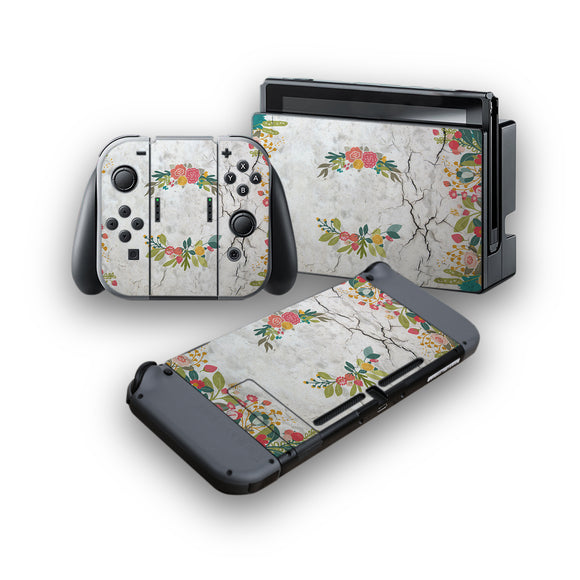 Concrete Flowers -Protective Vinyl Skin Decal Cover for Nintendo Switch Console & 2 Controllers