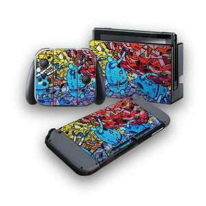Graffiti -Protective Vinyl Skin Decal Cover for Nintendo Switch Console & 2 Controllers