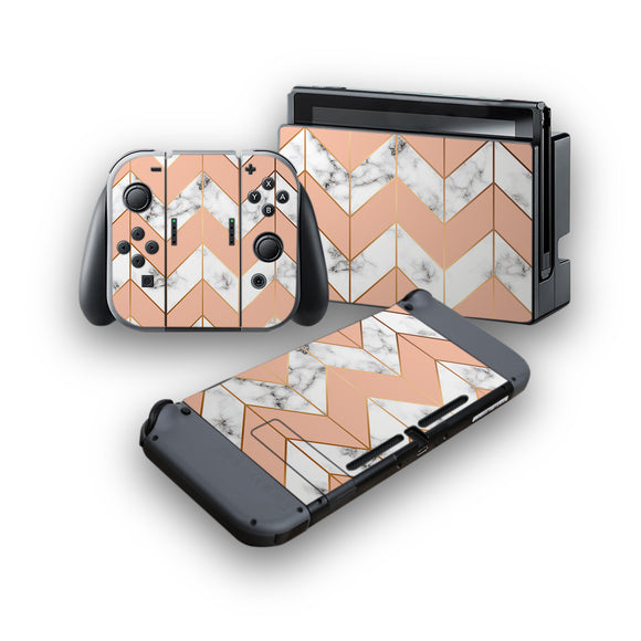 Marble Chevrons -Protective Vinyl Skin Decal Cover for Nintendo Switch Console & 2 Controllers