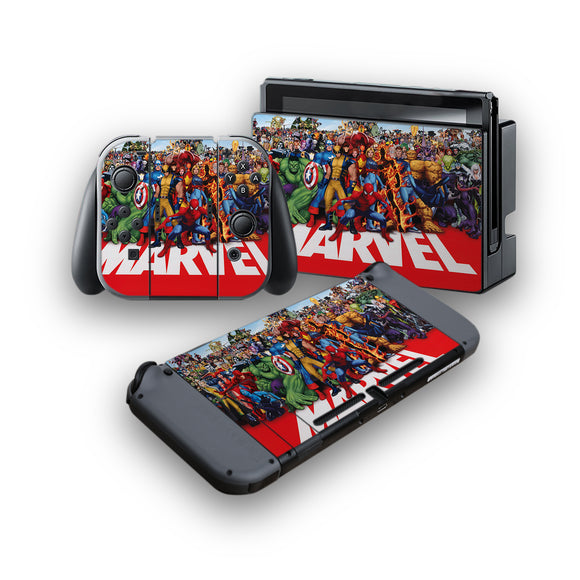 Marvel -Protective Vinyl Skin Decal Cover for Nintendo Switch Console & 2 Controllers