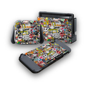 Sticker Bomb -Protective Vinyl Skin Decal Cover for Nintendo Switch Console & 2 Controllers
