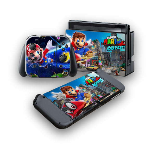 Super Mario Odyssey -Protective Vinyl Skin Decal Cover for Nintendo Switch Console & 2 Controllers