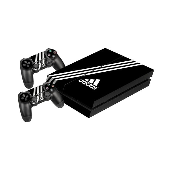Adidas Black Stripe -Protective Vinyl Skin Decal Cover for PlayStation 4 Console & 2 Controllers