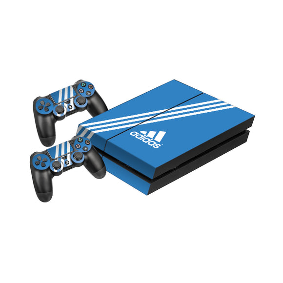Adidas Blue Stripe -Protective Vinyl Skin Decal Cover for PlayStation 4 Console & 2 Controllers