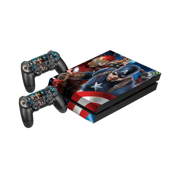 Avengers -Protective Vinyl Skin Decal Cover for PlayStation 4 Console & 2 Controllers