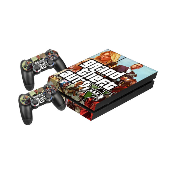 GTA 5 -Protective Vinyl Skin Decal Cover for PlayStation 4 Console & 2 Controllers