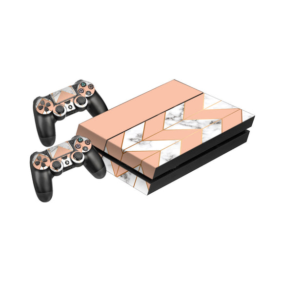 Marble Chevron -Protective Vinyl Skin Decal Cover for PlayStation 4 Console & 2 Controllers