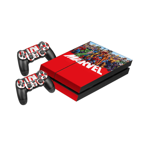 Marvel -Protective Vinyl Skin Decal Cover for PlayStation 4 Console & 2 Controllers