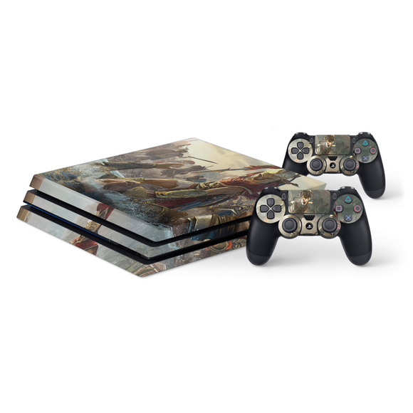 Assassin's Creed Odyssey -Protective Vinyl Skin Decal Cover for PlayStation 4 Pro Console & 2 Controllers