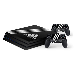 Adidas Black Stripe -Protective Vinyl Skin Decal Cover for PlayStation 4 Pro Console & 2 Controllers