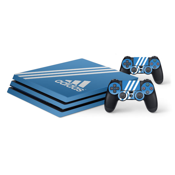 Adidas Blue Stripe -Protective Vinyl Skin Decal Cover for PlayStation 4 Pro Console & 2 Controllers