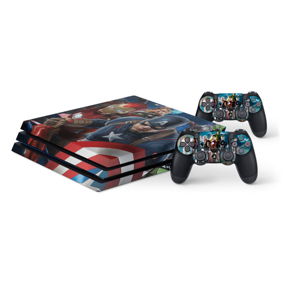 Avengers -Protective Vinyl Skin Decal Cover for PlayStation 4 Pro Console & 2 Controllers