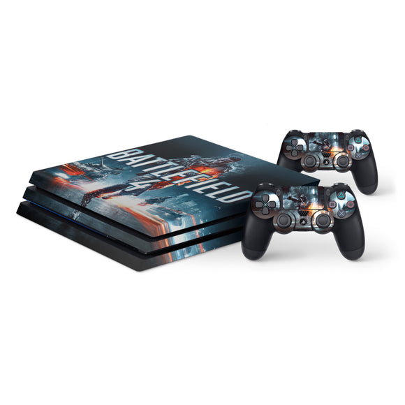 Battlefield 4 -Protective Vinyl Skin Decal Cover for PlayStation 4 Pro Console & 2 Controllers