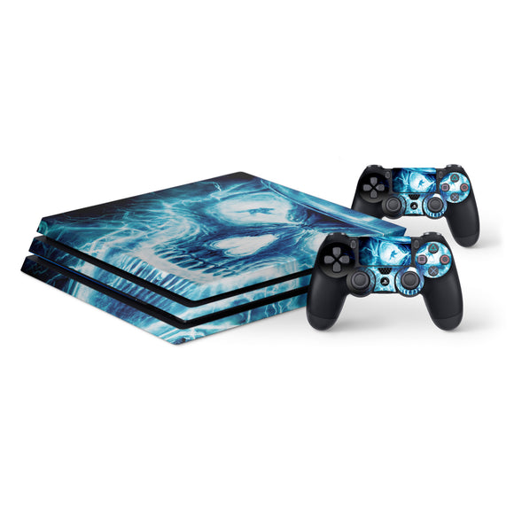 Blue Skull -Protective Vinyl Skin Decal Cover for PlayStation 4 Pro Console & 2 Controllers