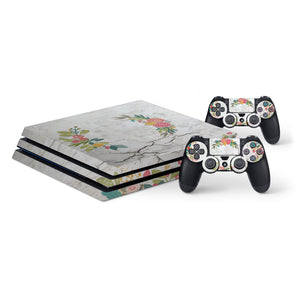 Concrete Flowers -Protective Vinyl Skin Decal Cover for PlayStation 4 Pro Console & 2 Controllers