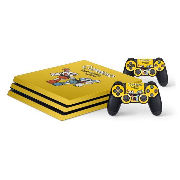 Cuphead -Protective Vinyl Skin Decal Cover for PlayStation 4 Pro Console & 2 Controllers