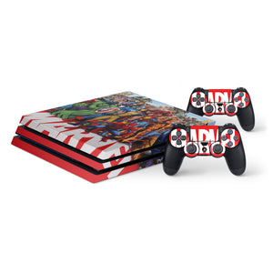 Marvel -Protective Vinyl Skin Decal Cover for PlayStation 4 Pro Console & 2 Controllers