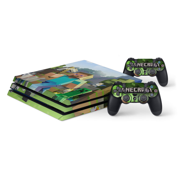 Minecraft -Protective Vinyl Skin Decal Cover for PlayStation 4 Pro Console & 2 Controllers