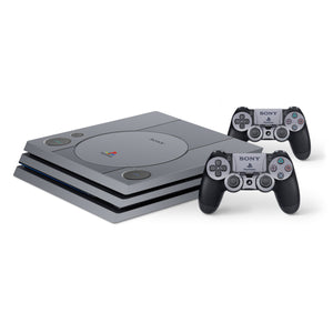 PS1 Retro Style -Protective Vinyl Skin Decal Cover for PlayStation 4 Pro Console & 2 Controllers