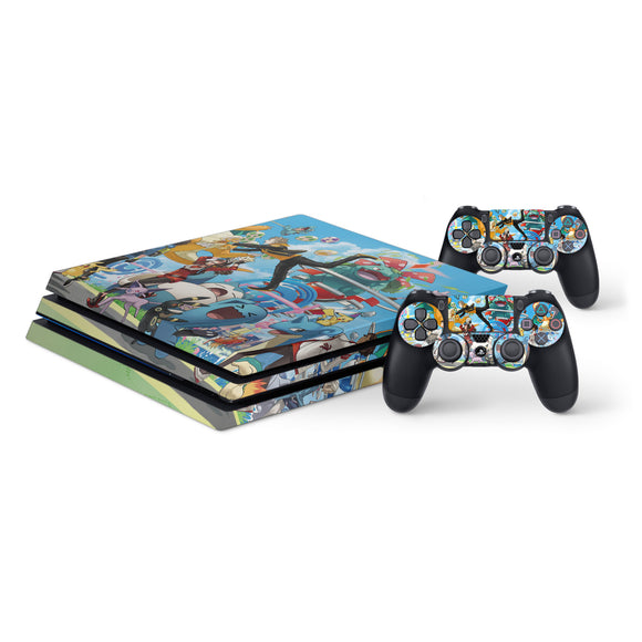 Pokemon -Protective Vinyl Skin Decal Cover for PlayStation 4 Pro Console & 2 Controllers