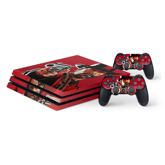 Red Dead Redemption Protective Vinyl Skin Decal Cover for PlayStation 4 Pro Console & 2 Controllers