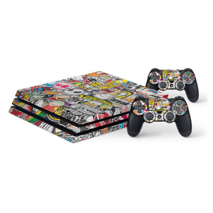 Sticker Bomb -Protective Vinyl Skin Decal Cover for PlayStation 4 Pro Console & 2 Controllers