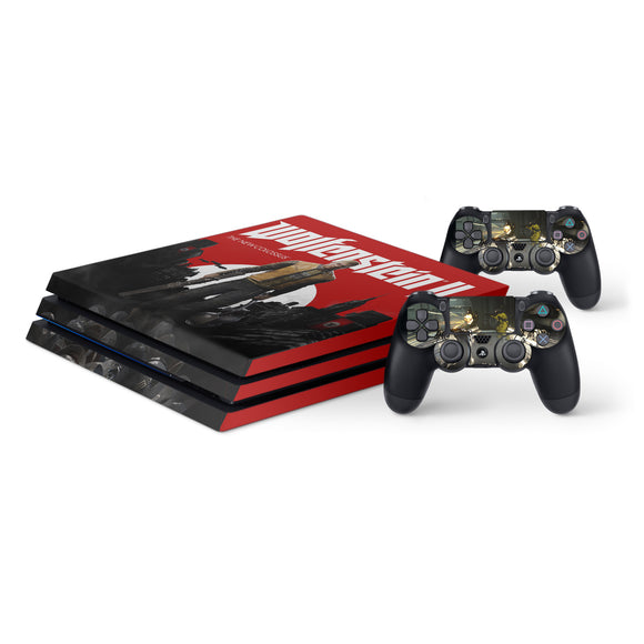 Wolfenstein -Protective Vinyl Skin Decal Cover for PlayStation 4 Pro Console & 2 Controllers