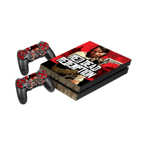 Red Dead Redemption Protective Vinyl Skin Decal Cover for PlayStation 4 Console & 2 Controllers