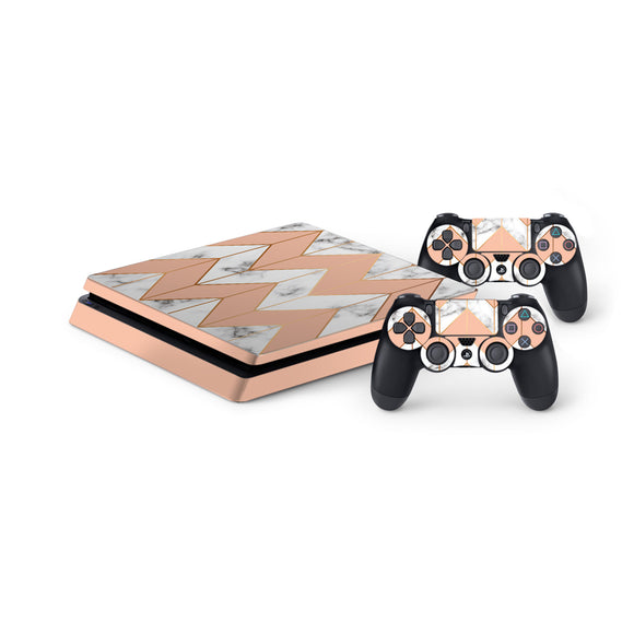 Marble Chevrons -Protective Vinyl Skin Decal Cover for PlayStation 4 Slim Console & 2 Controllers