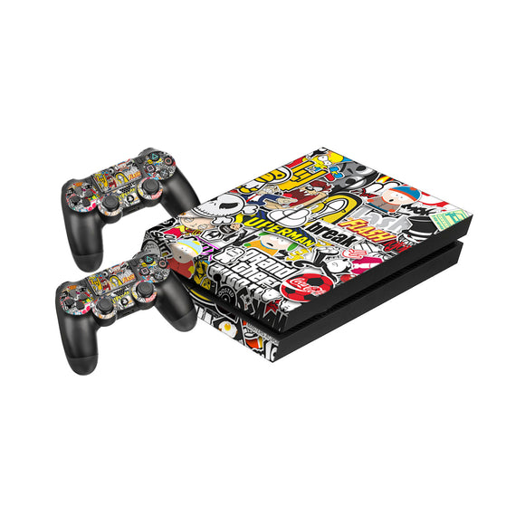 Sticker Bomb -Protective Vinyl Skin Decal Cover for PlayStation 4 Console & 2 Controllers