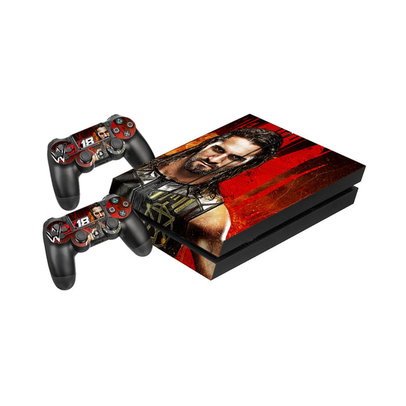 WWE 2K18 -Protective Vinyl Skin Decal Cover for PlayStation 4 Console & 2 Controllers