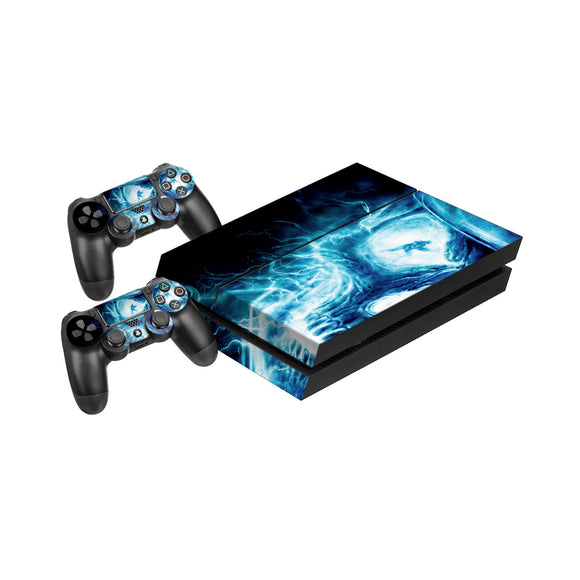 Blue Flaming Skull -Protective Vinyl Skin Decal Cover for PlayStation 4 Console & 2 Controllers