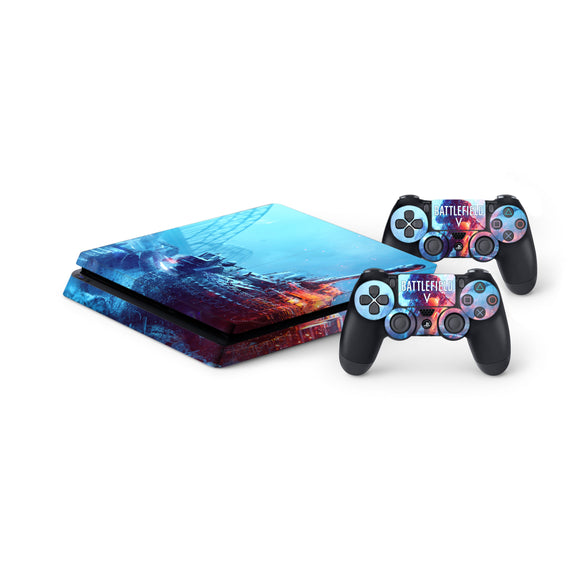 Battlefield V Protective Vinyl Skin Decal Cover for PlayStation 4 Slim Console & 2 Controllers