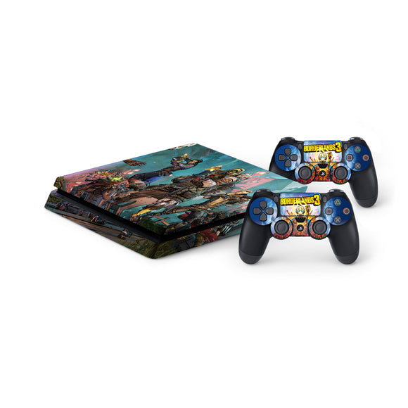 Borderlands 3 -Protective Vinyl Skin Decal Cover for PlayStation 4 Slim Console & 2 Controllers