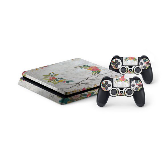 Concrete Flowers -Protective Vinyl Skin Decal Cover for PlayStation 4 Slim Console & 2 Controllers