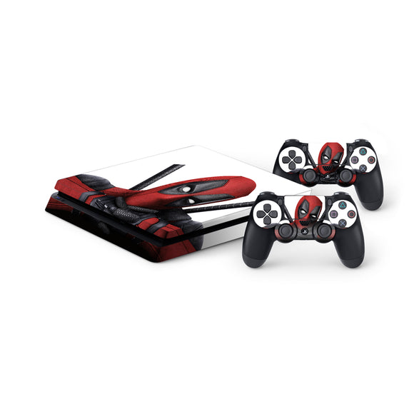 Deadpool -Protective Vinyl Skin Decal Cover for PlayStation 4 Slim Console & 2 Controllers