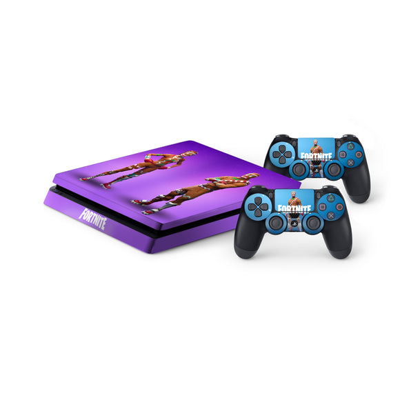 Fortnite -Protective Vinyl Skin Decal Cover for PlayStation 4 Slim Console & 2 Controllers Gingerbread