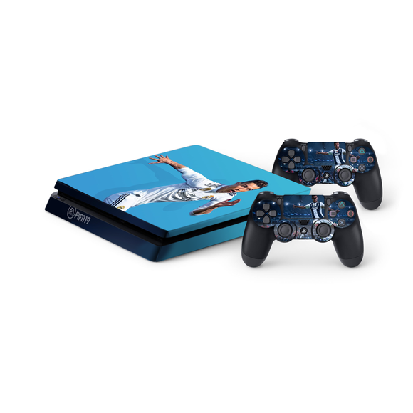 FIFA 19 Protective Vinyl Skin Decal Cover for PlayStation 4 Slim Console & 2 Controllers