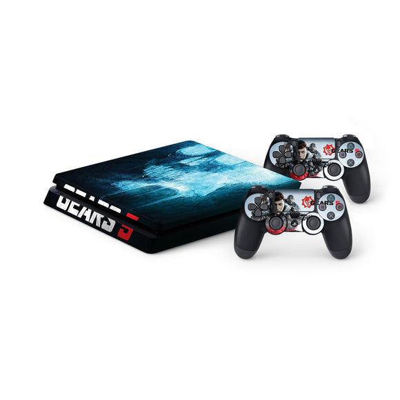 Gears 5 -Protective Vinyl Skin Decal Cover for PlayStation 4 Slim Console & 2 Controllers
