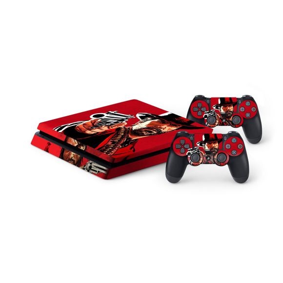 Red Dead Redemption Protective Vinyl Skin Decal Cover for PlayStation 4 Slim Console & 2 Controllers