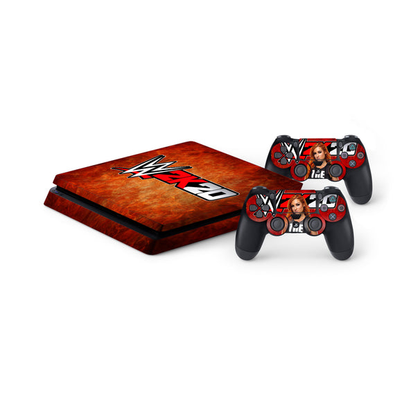 WWE 2K20 -Protective Vinyl Skin Decal Cover for PlayStation 4 Slim Console & 2 Controllers