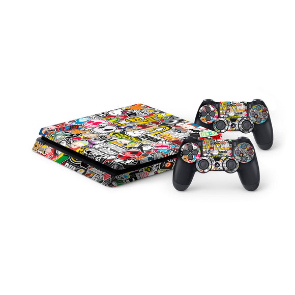 Sticker Bomb -Protective Vinyl Skin Decal Cover for PlayStation 4 Slim Console & 2 Controllers