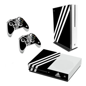 Adidas Black Stripe -Decal Style Skin Set fits XBOX One S Console and 2 Controllers