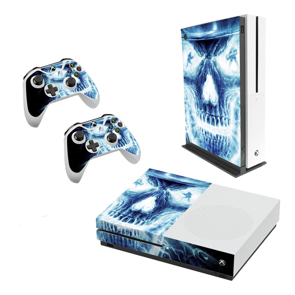 Blue Skull -Decal Style Skin Set fits XBOX One S Console and 2 Controllers