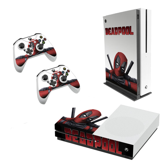 Deadpool -Decal Style Skin Set fits XBOX One S Console and 2 Controllers