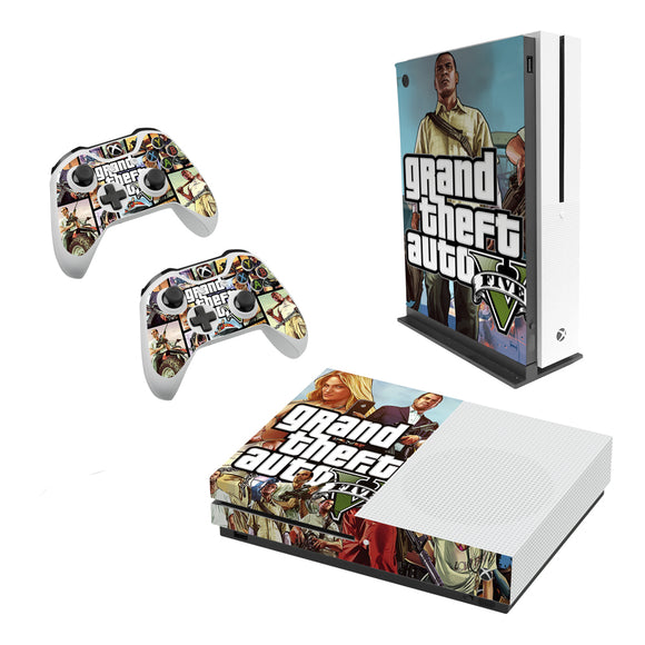 GTA 5 -Decal Style Skin Set fits XBOX One S Console and 2 Controllers