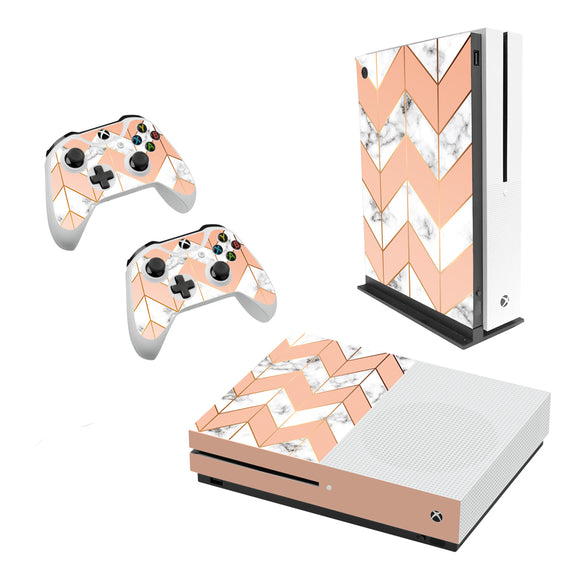 Marble Chevrons -Decal Style Skin Set fits XBOX One S Console and 2 Controllers