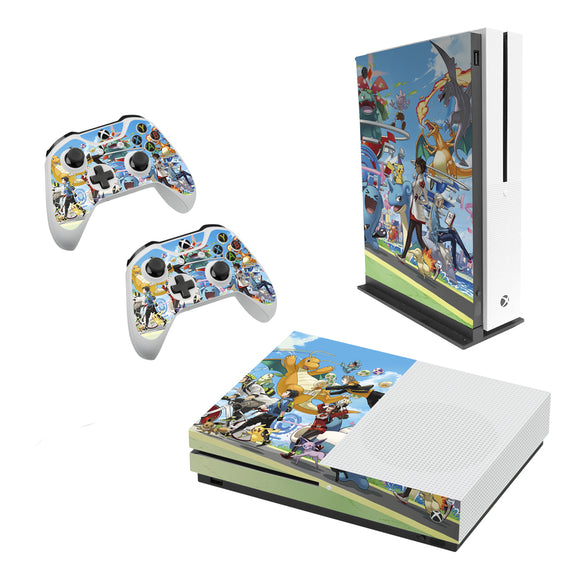 Pokemon -Decal Style Skin Set fits XBOX One S Console and 2 Controllers